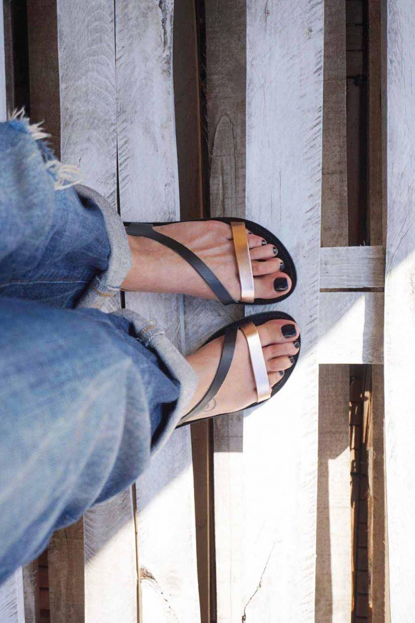 Sandale dama piele naturala FUNKY STRIPES negru   FUNKYFAIN