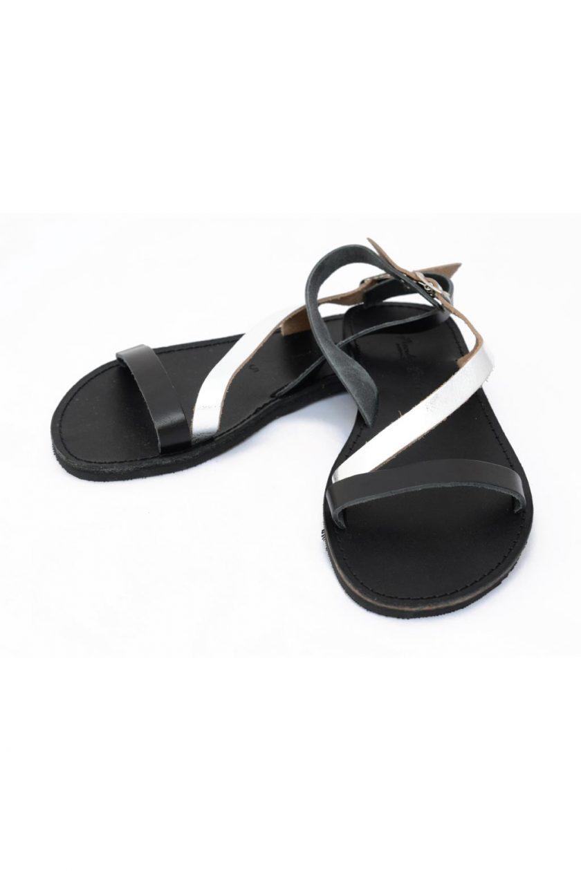 Sandale dama piele naturala FUNKY STRIPES, negru - argintiu