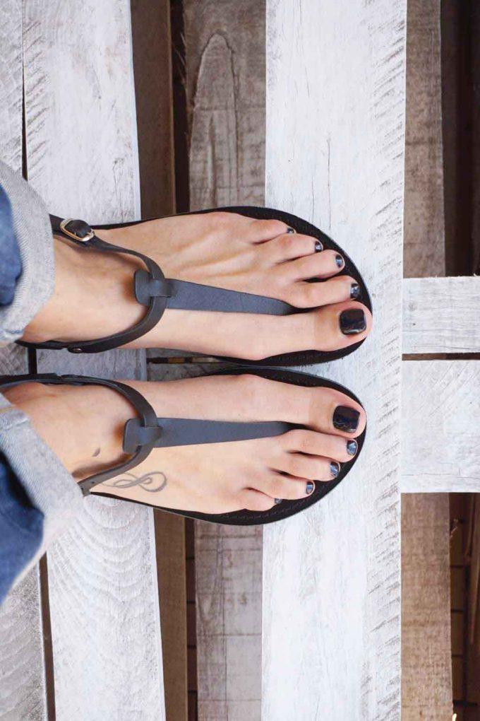 Sandale piele naturala FUNKY ALLNUDE negru | FUNKYFAIN