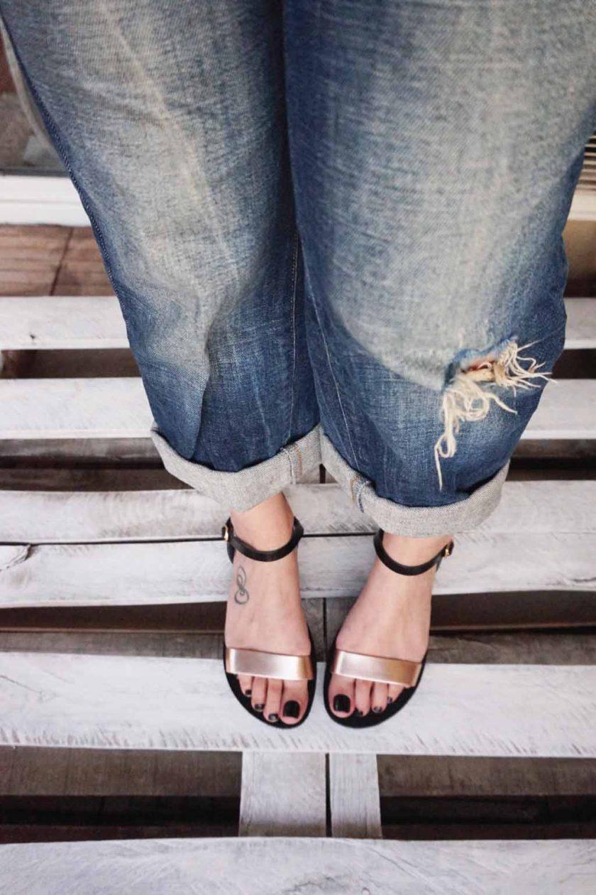 Sandale de dama piele FUNKY CASUAL, bronz - negru