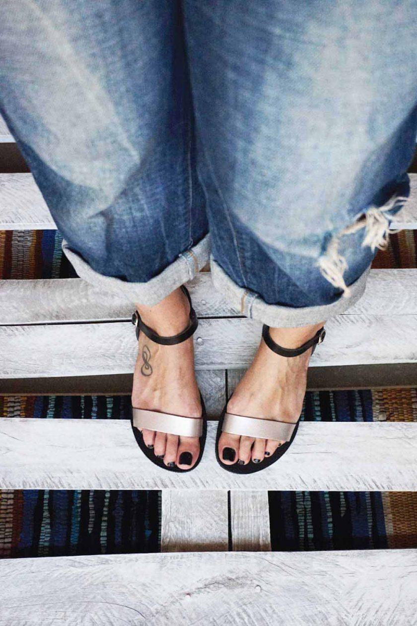 Sandale cu talpă joasă FUNKY CASUAL, grej metalic